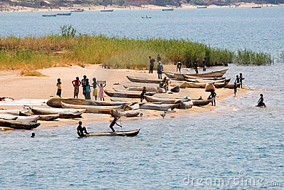 Fishing Boats on Lake Malawi Editorial Stock Photo