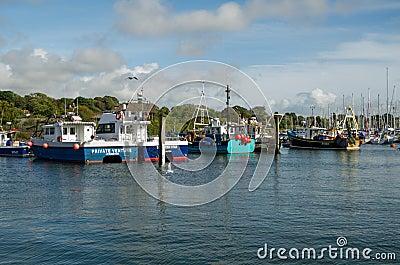 Fishing boats, Lymington, Hampshire Editorial Stock Image
