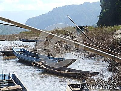 fishing boats on the Mekong