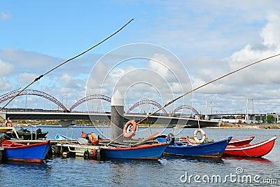 Fishing boats on Mondego river marina