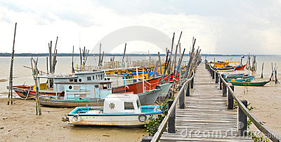 Fishing Boats At Penyabong,Malaysia Stock Photos - Image: 20948613