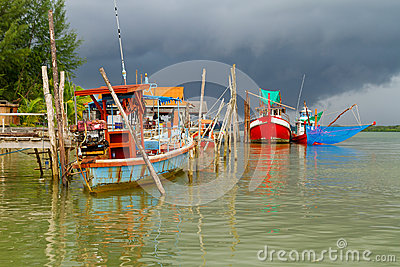 Fishing boats at the river in Koh Kho Khao