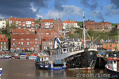 Fishing boats in Whitby harbour, North Yorkshire. Editorial Photography