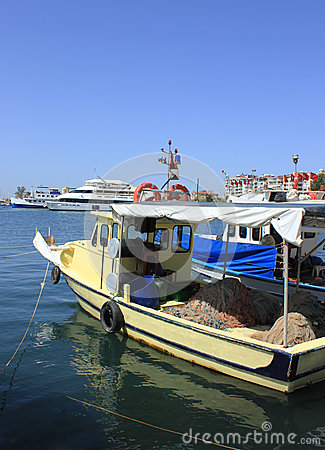 Fishing Boats and Yachts in Izmir (Bostanli),Turkey