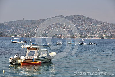 Fishing Boats on Zihuatanejo Bay Editorial Photography