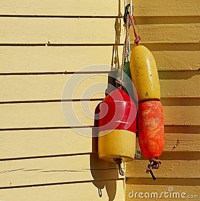 Fishing Buoys House Wall Yellow Stock Photo - Image: 57793785
