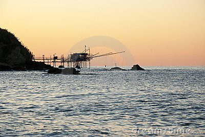 Fishing device at the sunset