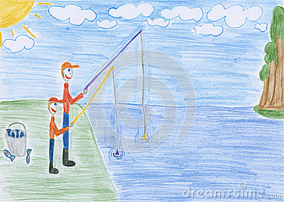 Fishing - drawing