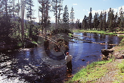 Fishing at Firehole River