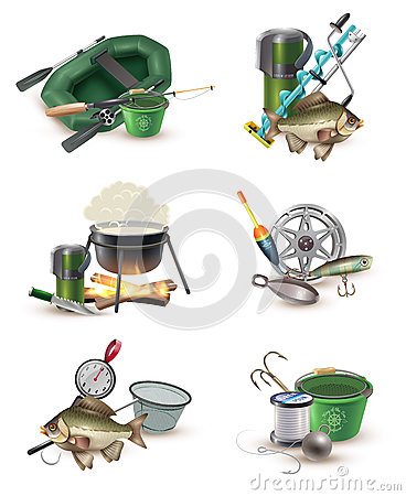 Free Fishing Gear Accessories 6 Icons Set Stock Image - 86403781