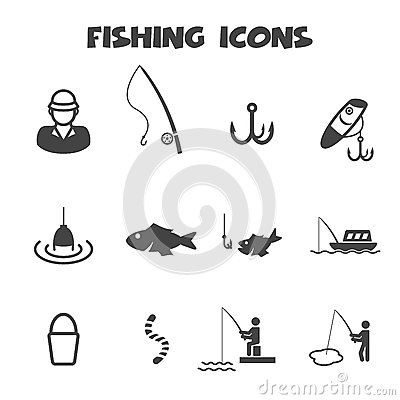 Free Fishing Icons Royalty Free Stock Images - 40187249