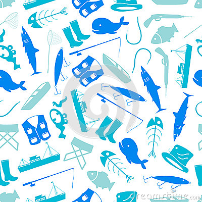 Fishing icons blue and white pattern