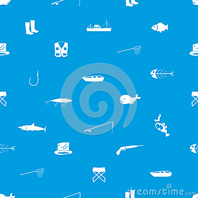 Fishing icons blue and white seamless pattern