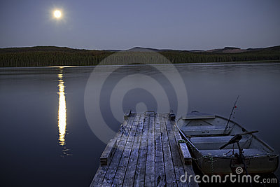Fishing Lake at Night with Moon