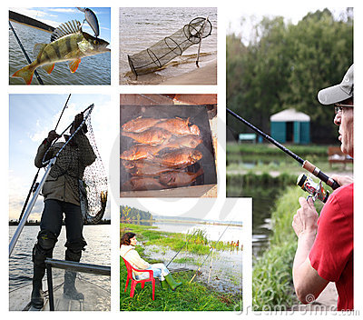 fishing leisure people collage
