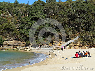 Fishing men on beach resting Editorial Stock Photo