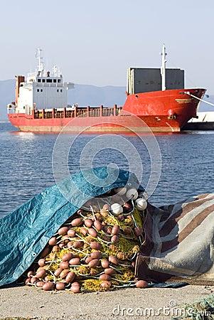 Free Fishing Net And Ship Stock Photos - 8436143