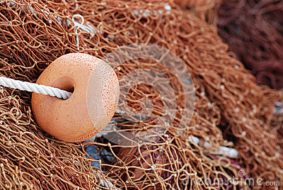 Fishing net with brown floats