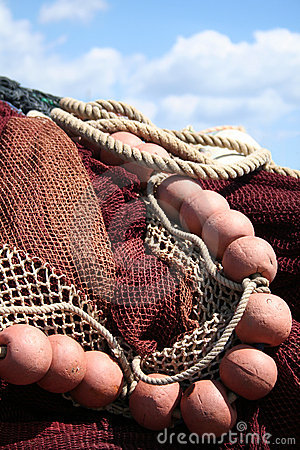 Fishing net, red.