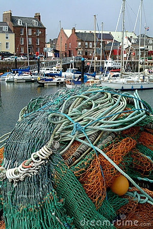 Fishing Nets & Arbroath Harbour, Scotland