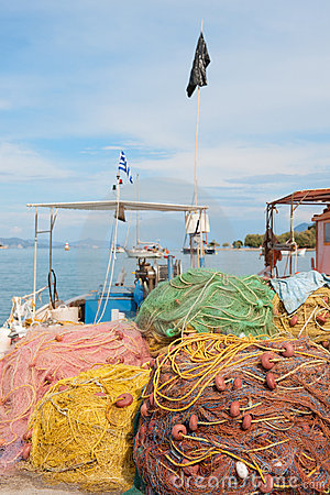 Fishing nets in Greek harbor