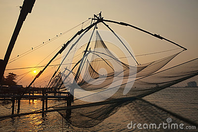 Fishing nets, Kerala Backwaters, India