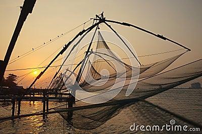 Fishing nets, Kerala Backwaters, India
