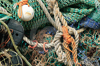 Fishing nets and rigging rope