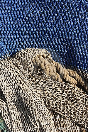 Fishing nets still life background pattern