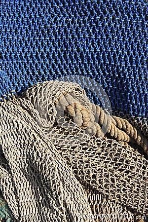 Fishing nets still life background pattern