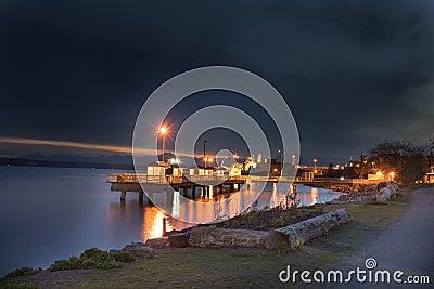 fishing pier at night stock photo - image: 40250326, Reel Combo