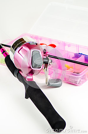 Fishing pole and tackle in pink stock photo image 46145382 for Pink fishing gear