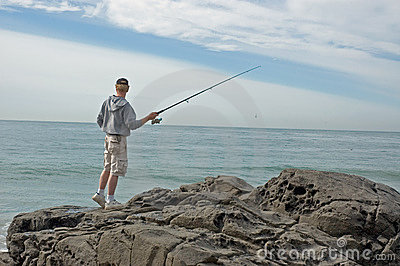 Fishing from a rock