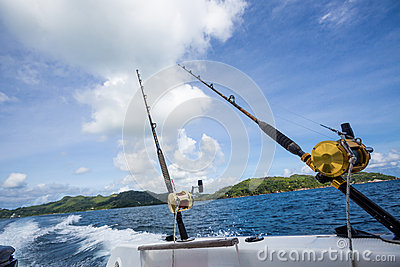 Fishing rod on boat at sea