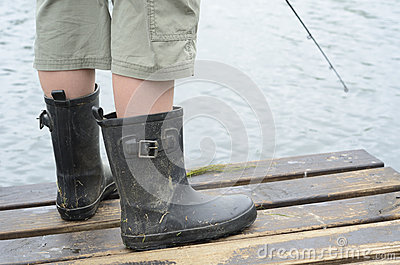 Fishing rod and boots