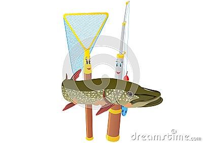 Fishing rod, net and pike