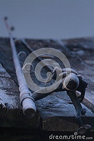 Fishing-rod on a pier