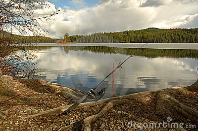 Fishing rod placed on the ground near a  lake