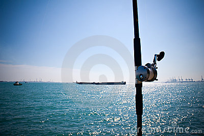Fishing rod by the sea