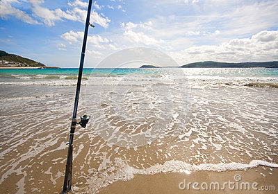 Fishing rod on a Spanish beach