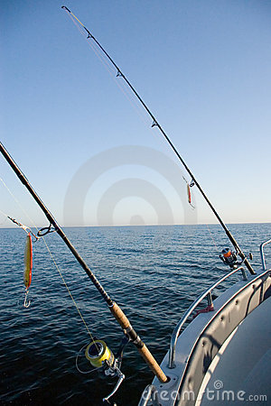 Fishing rods at sea.