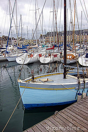 Fishing Sail Boat at Port Dock in Brittany France