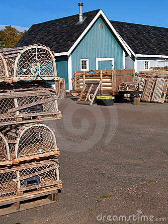 Fishing shacks with Lobster Traps and Copy Room