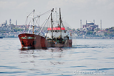 Fishing ship in the Marmara Sea in Istanbul