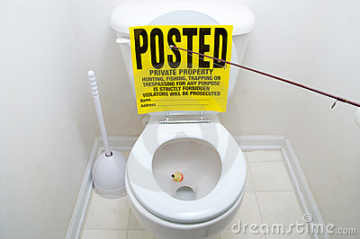 Fishing sign in toilet