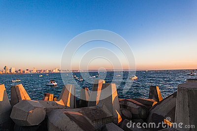Fishing Ski-Boats Pier Sunrise Ocean Editorial Stock Photo