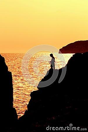 fishing sunset child