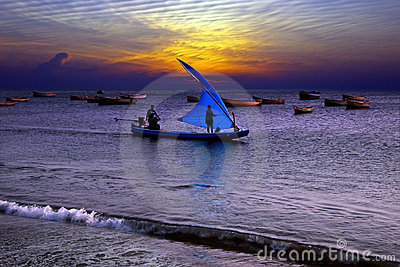 Fishing at sunset in India