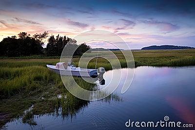 Fishing sunset scene