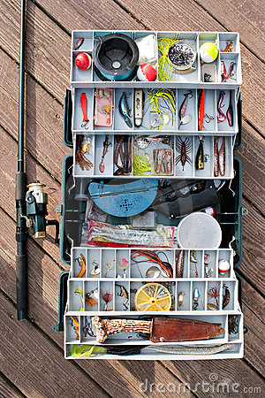 Free Fishing Tackle Box And Gear Stock Images - 13906074
